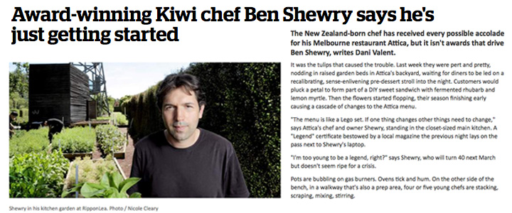 Award-winning Kiwi chef Ben Shewry says he's just getting started