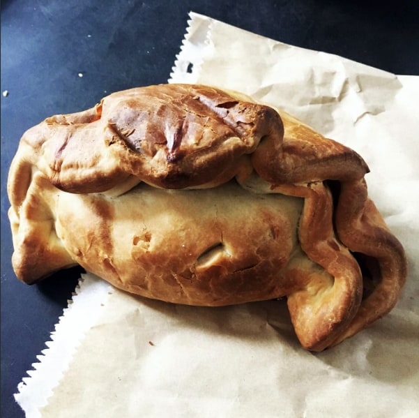 A rather crab-like Cornish pastie to help me through a discussion of British vs Australian food on ABC Afternoons.